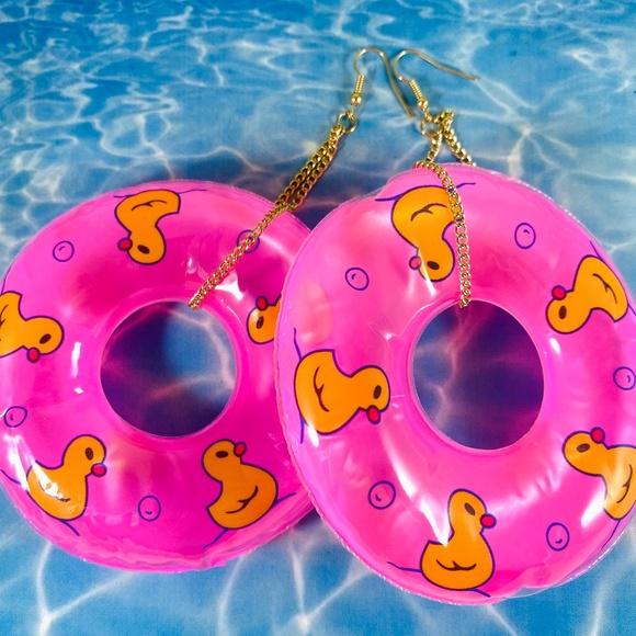 Adorable Duckie Hot Pink Pool Float Earrings